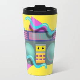 Retro Eighties Boom Box Graphic Travel Mug