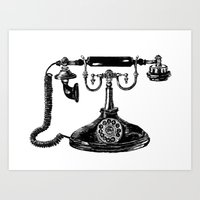 telephone Art Prints featuring Telephone by Rachel Walsh