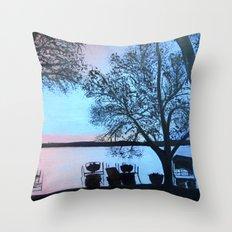 Buffalo lake at night Throw Pillow