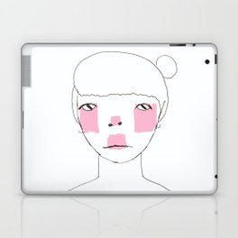 Line Drawing of Girl with Bun  Laptop & iPad Skin