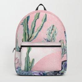 Desert Sun + Gemstones Rose Gold Pink Watercolor Backpack