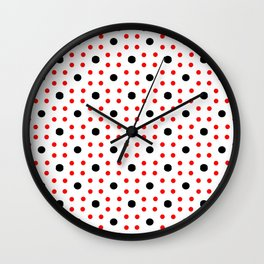 new polka dot 24 - red and black Wall Clock