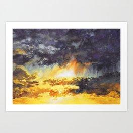 Watercolor Sky No 5 - colorful rain clouds Art Print