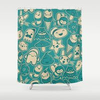 kawaii Shower Curtains featuring Kawaii by Hoborobo