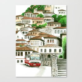Mediterranean old town watercolour painting Canvas Print