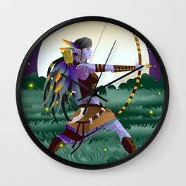 magical fantasy wild dark elf huntress in the wild in the night Wall Clock