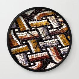 Roman Geometric Squares Tile Mosaic Pattern Wall Clock
