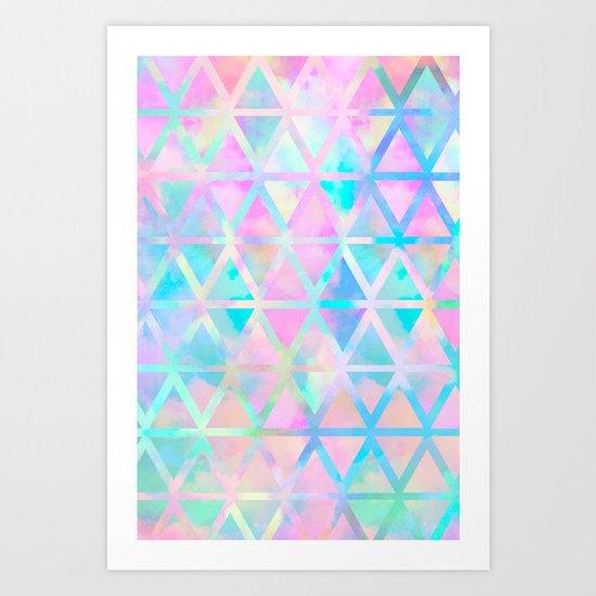 Pink pastel aztec pattern Art Print