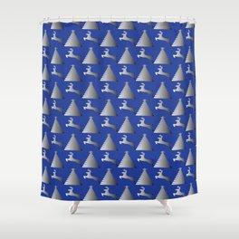 Reindeer Christmas tree Pattern blue Shower Curtain