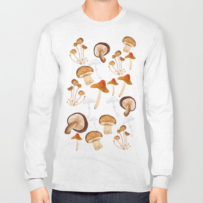 mushroom pattern watercolor painting Long Sleeve T-shirt