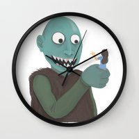 eat Wall Clocks featuring eat by yogiobluda