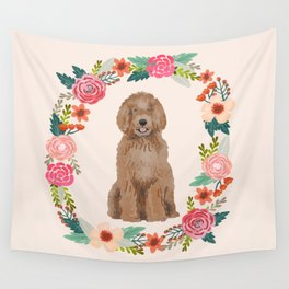 labradoodle floral wreath dog breed pet portrait pure breed dog lovers Wall Tapestry