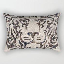 black lion on French newsprint Rectangular Pillow