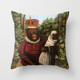 Monkey Queen with Pug Baby Throw Pillow