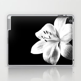 White Lily Black Background Laptop & iPad Skin