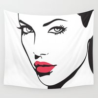 angelina jolie Wall Tapestries featuring Angelina Jolie by Tamsin Lucie
