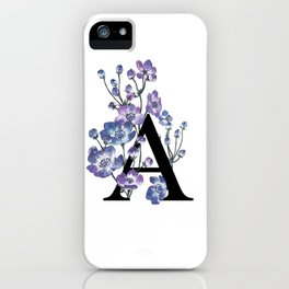 Letter 'A' Anemone Flower Typography iPhone Case