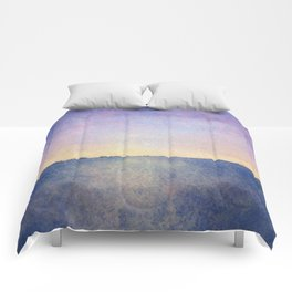 Watercolour Sunset Textural Abstract Painting Comforters