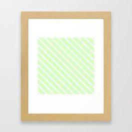 Honeydew Melon Diagonal Stripes Framed Art Print