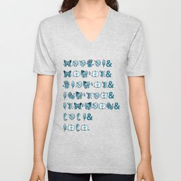 Fringe Glyph List (Grey) Unisex V-Neck