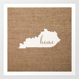 Kentucky is Home - White on Burlap Art Print