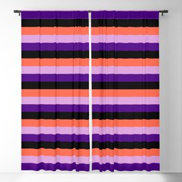 Eyecatching Red, Plum, Indigo & Black Stripes Pattern Blackout Curtain