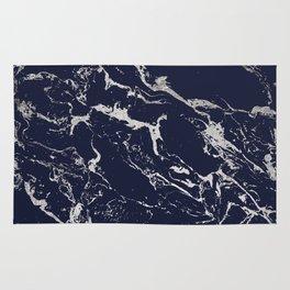 Modern navy blue silver marble pattern Rug