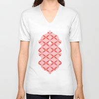 blush V-neck T-shirts featuring blush kiss by Amber Gilded