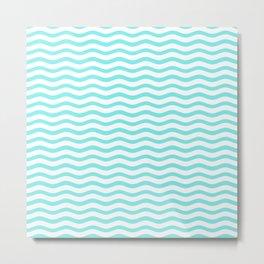 Classic Aqua and White Chevron Wave Wavy ZigZag Stripes Metal Print