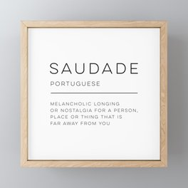Saudade Definition Framed Mini Art Print
