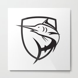 Blue Marlin Jumping Crest Black and White Metal Print