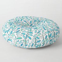 Blue, Aqua, Green and Silver Confetti Pattern Floor Pillow