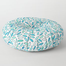 Blue, Aqua, Green and Silver Confetti Pattern Floor Pillow
