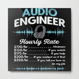 Audio Engineer Hourly Rate Motif Metal Print