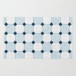 Sky Blue Classic Floor Tile Texture Rug