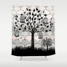 Paper landscape B&W Shower Curtain