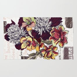 Beautiful illustration with peony flowers in vintage style Rug