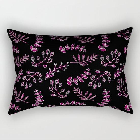 Seamless watercolor blue flowers pattern on black background Rectangular Pillow
