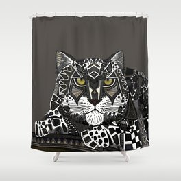 snow leopard lead Shower Curtain