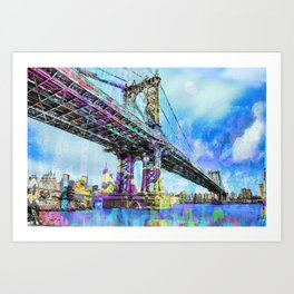 New York City Manhattan Bridge Blue Art Print