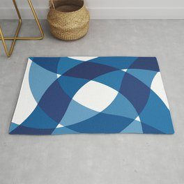 BLUE WAVY LINES Abstract Art Rug