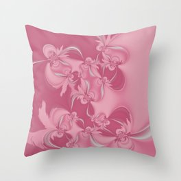 Pink Fractal Flowers Throw Pillow