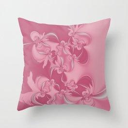 Pink Fractal Flowers Throw Pillow