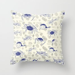 Crabbing Blues Throw Pillow