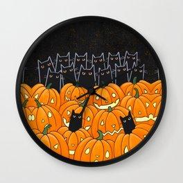 Black Cats and Jack o Lanterns Wall Clock
