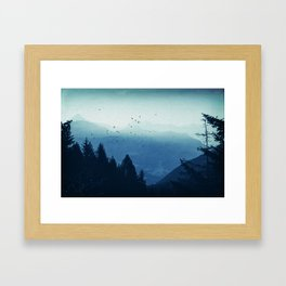 Blue Valmalenco - Misty Blue Mountains Framed Art Print