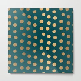 Gold Round Brush Strokes Pattern on Teal Blue background Metal Print