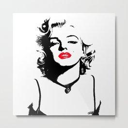 Marilyn Red Lips Pop Art Metal Print