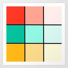 Modern Geometric Pastel Squares Art Print