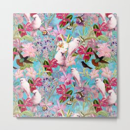 Vintage & Shabby Chic - Pink Tropical Birds and Orchid Flower Pattern Metal Print